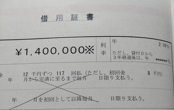 公庫の借用書